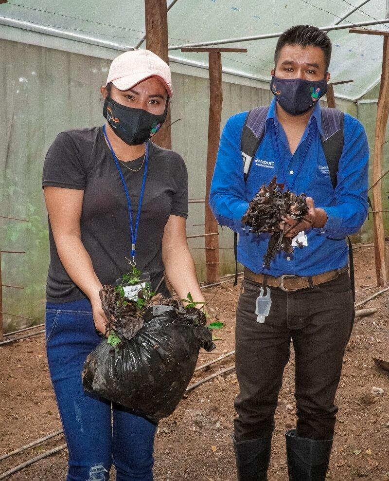 Participantes trabajando en la construcción de camas biointensivas de doble excavación